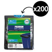 Castaway Bin Liner 240Lt High Density Black 1150X1450mm Carton 200
