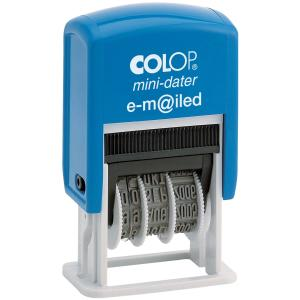 Colop Mini Date Emailed Self Inking Stamp With Blue Red Ink