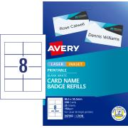 Avery Card Name Badges Refill - 86.5 x 55.5mm - 200 Cards (L7418K)
