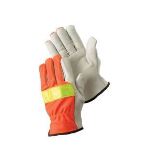 Safechoice Gloves Cow Grain Palm High Visibility Rigger Pair