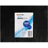 Officemax Flexible Drinking Straws 210x6mm Black Pack Of 500
