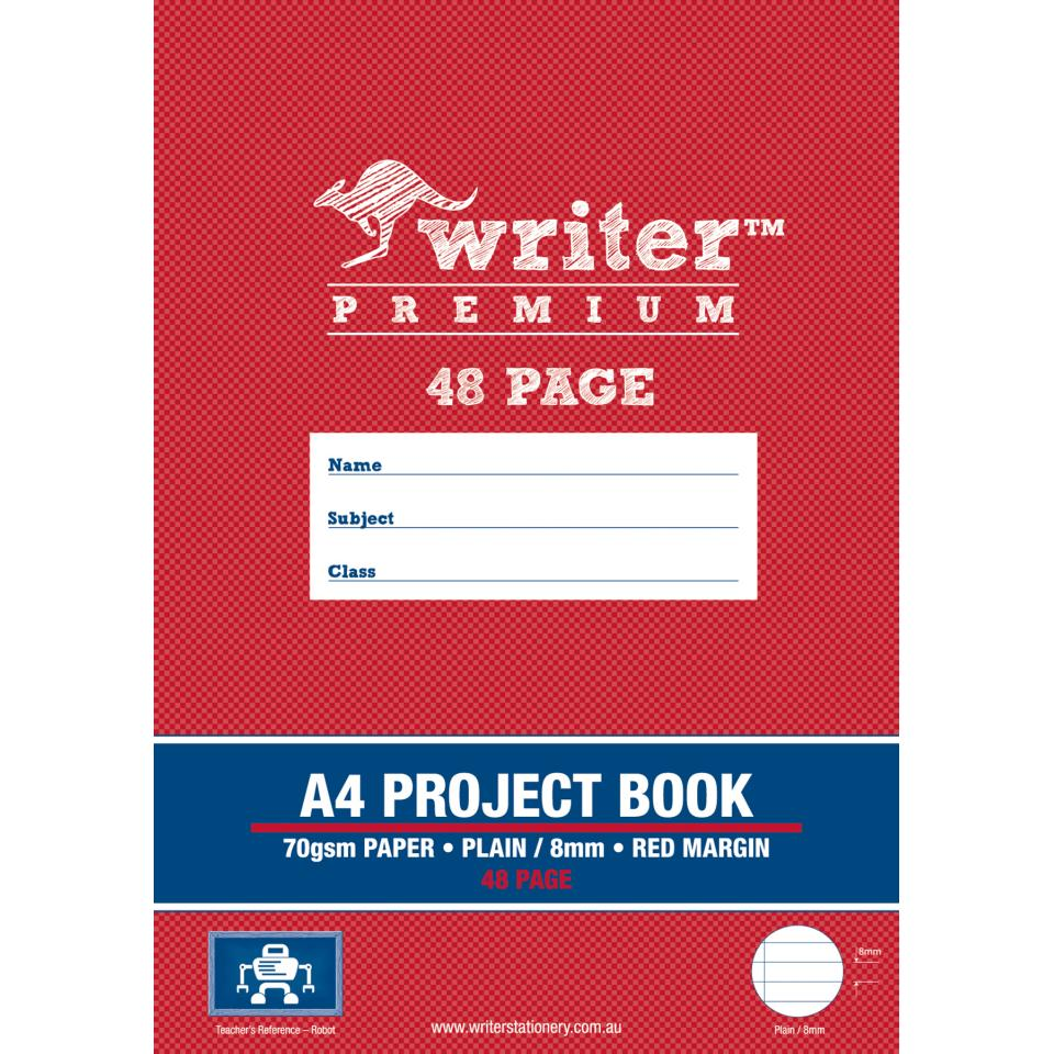 Writer Premium Project Book A4 Plain/8mm Ruled 48 Pages