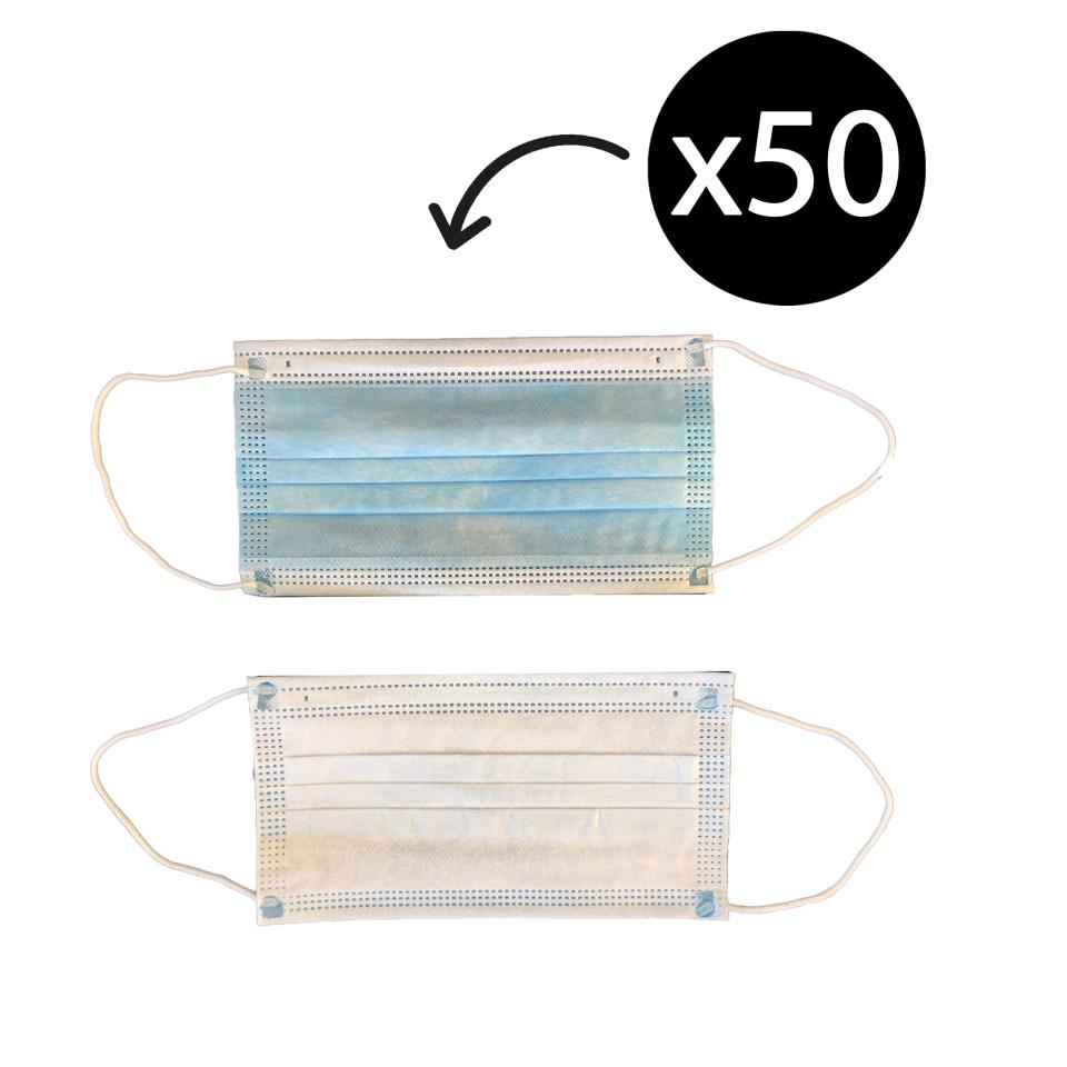 Face Mask Non-Sterile Disposable 3-Ply Non-Woven 99.9% BFE Class 1 Level 3 with Earloop Box 50