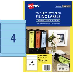 Avery Blue Lever Arch Filing Labels - 200 x 60mm - 40 Labels (L7171B)