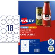Avery Glossy Oval Labels - 63.5 x 42.3mm - 180 Labels (L7102)