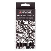 Micador For Artists Permapainters Paint Pens Black Pack 4