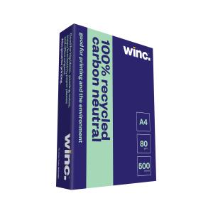 Winc Copy Paper Carbon Neutral 100% Recycled 80gsm A4 White Box 5 Reams