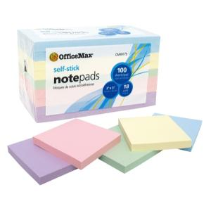 Officemax Self-stick Notes Pastel 76x76mm Assorted Colours Pack Of 18