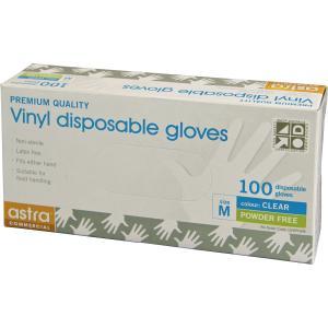 Astra Clear Vinyl Powder Free Gloves Medium Box100