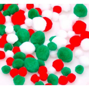 Jasart Pom Poms Christmas Colours Assorted Bag 100