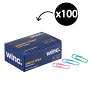 Winc Paper Clip Coloured PVC Steel 33mm Box of 100