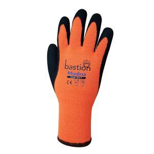 Bastion Modina 10g Orange Acrylic Thermal Gloves Black Sandy Latex Palm Coating Pair