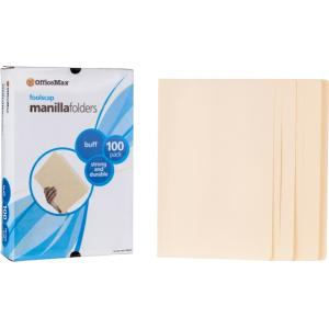 Officemax Manilla Folders Foolscap Buff Box Of 100