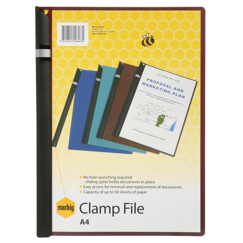 Marbig Side Clamp File A4 Maroon