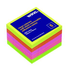 Winc Self-Stick Removable Notes 76X76mm Neon 5 Pads Pack
