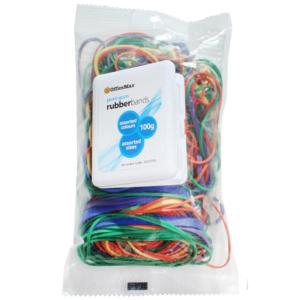 Officemax Rubber Bands Assorted Sizes & Colours 100g Pack Of 232