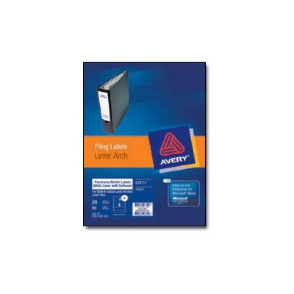Avery 959039 White Lever Arch Labels & Software 200X60mm 1 Sheet Pack 3