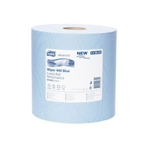 Tork 130081 Industrial Heavy Duty Wiping Paper Blue Combi Roll W1/2 350Sheets Carton 2