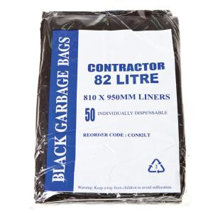 Austar Contractor Bin Liners 82L Black Packet 50