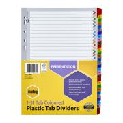 Marbig Dividers Manilla Plastic Coloured Tab A4 White Numbered 31 Tab
