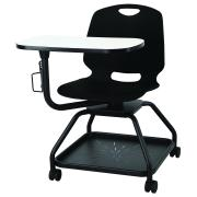 ProEd Quest Student Chair 4 Leg on Castors with Tablet and Tote Tray Black