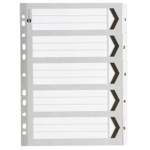 Marbig Dividers Manilla Plastic Tab A4 Grey White Numbered 5 Tab