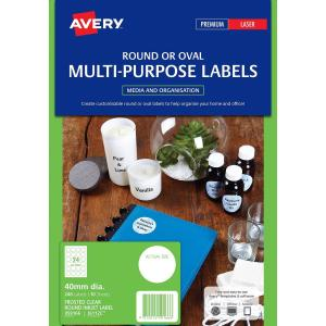 Avery 959166 Frosted Clear Round Inkjet Labels Multi Purpose 40mm Pack 10