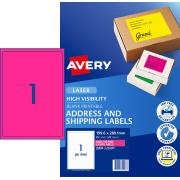 Avery Fluoro Pink Shipping Labels for Laser Printers - 199.6 x 289.1mm - 25 Labels (L7167FP)