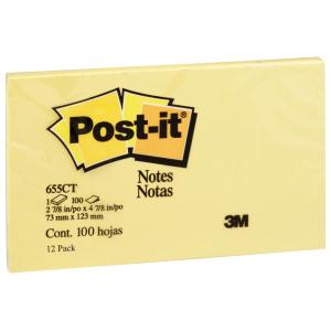 3m Post-It 655 Yellow 76X127mm 12Pads/Pack