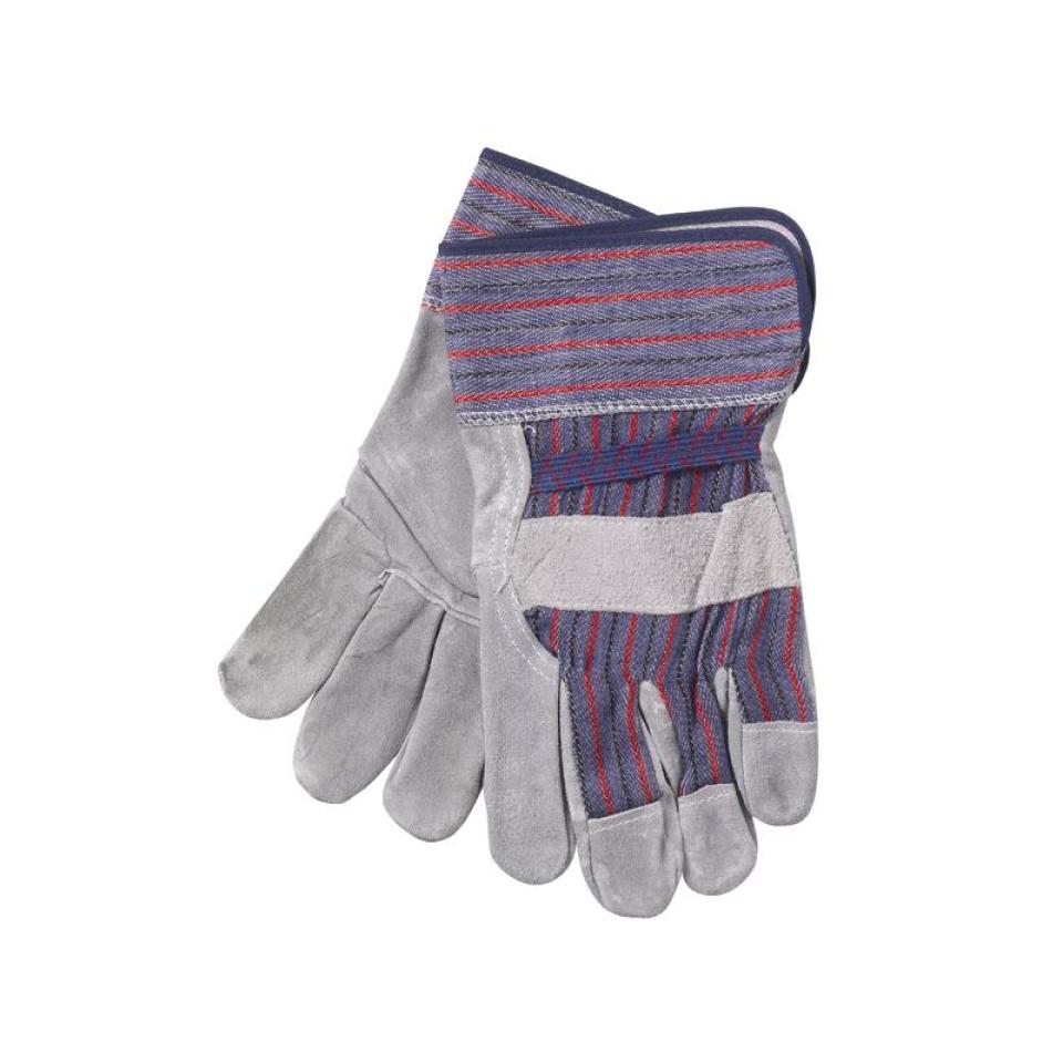 Safechoice Gloves Leather Grade 3 & Cotton Candy Stripe Grey Pair