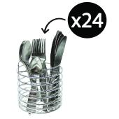 Connoisseur Satin Stainless Steel Cutlery Set With Chrome Wire Caddy 24 Piece