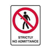 Brady 840221 Self Adhesive Sign Strictly No Admittance Vinyl 125X90mm Pk 5