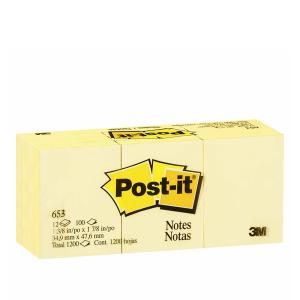 Post-It Notes 36 x 48mm Canary Yellow Pack 12