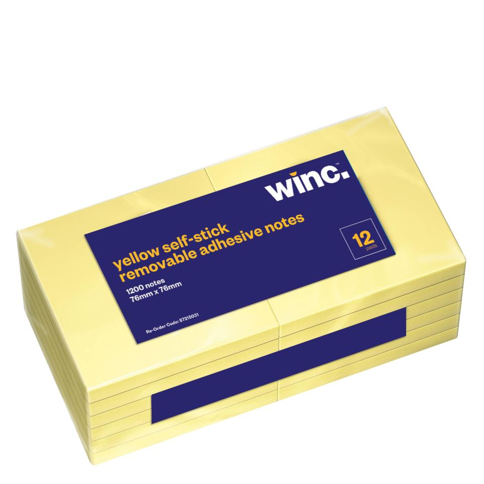 Winc Self-Stick Removable Notes 76 x 76mm Yellow Pack 12