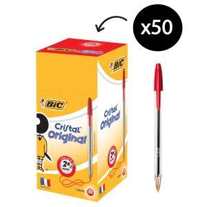 BIC Cristal Extra Life Ballpoint Pen Medium 1.0mm Red Box 50