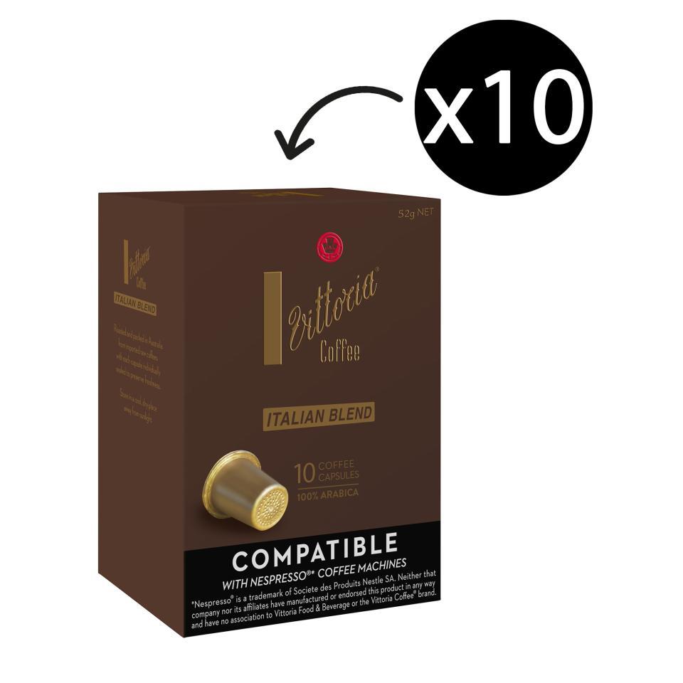 Vittoria Coffee Capsules Italian Blend Box 10