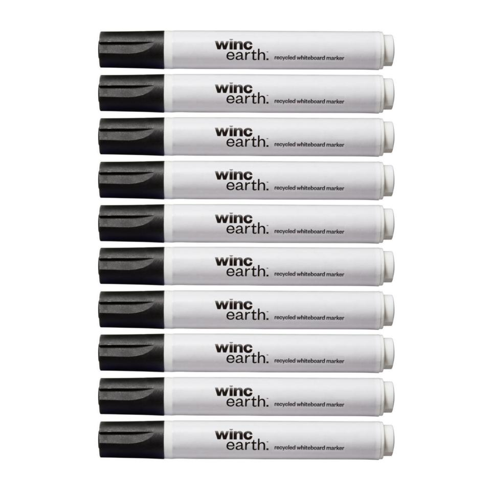 Winc Earth Whiteboard Marker Recycled Bullet Tip 1.5-3.0mm Black Box 10