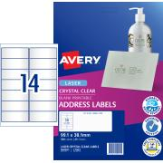 Avery Crystal Clear Address Labels for Laser Printers - 99.1 x 38.1mm - 350 Labels ( L7563)