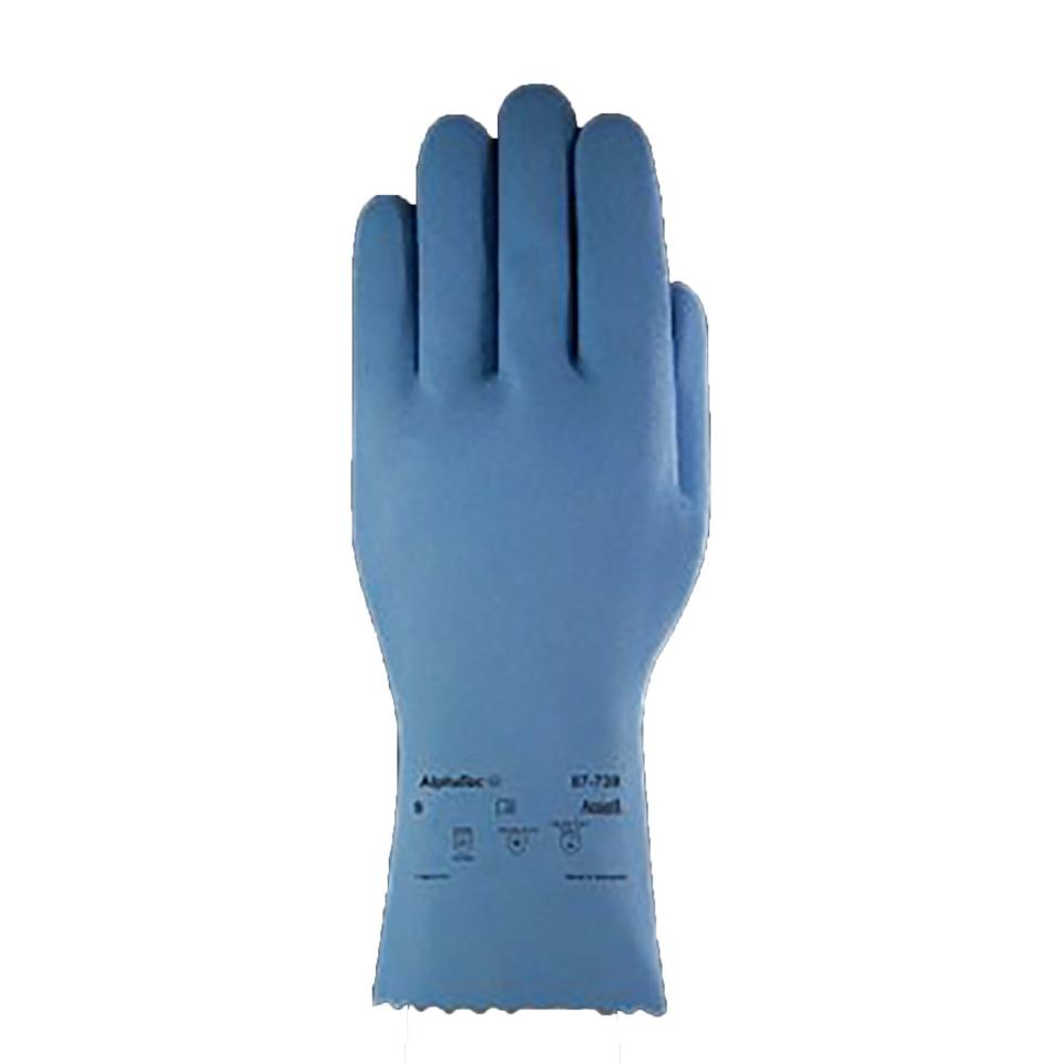 AlphaTec 87-739 Heavy Duty Nitrile Flockliner Glove Blue size 8 Pkt 12