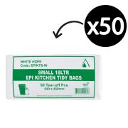 EPI Degradable Kitchen Tidy Bags 540X450mm 15 Litre White Roll 50