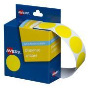 Avery Yellow Circle Dispenser Labels 24mm diameter 500 Labels