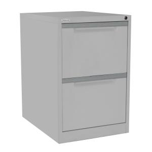 Steelco Filing Cabinet 2 Drawer Lockable 710h x 470w x 620dmm Silver Grey