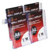 Deflecto Brochure Holder 4 Compartments Wall Mount A4 Clear