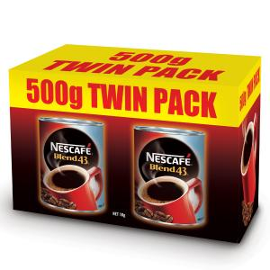Nescafe Blend 43 Instant Coffee 1kg - 500g Twin Pack