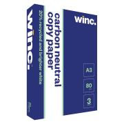 Winc Carbon Neutral 20% Recycled Copy Paper A3 80gsm White Carton 3 Reams