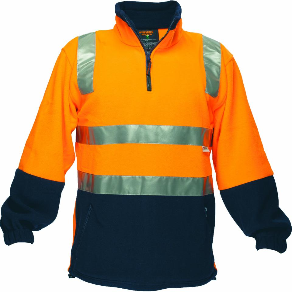 Prime Mover HV215 High Visibility Polar Fleece Jumper With Reflective Tape