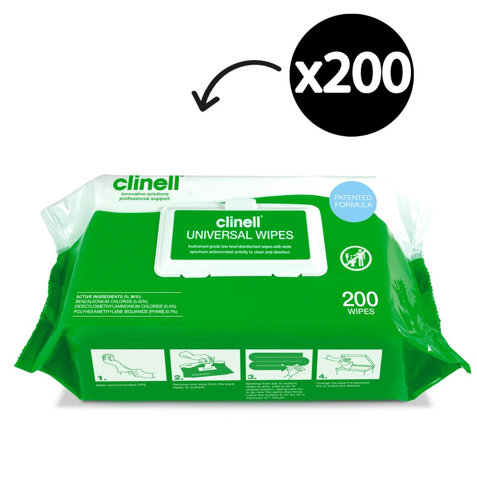 Clinell CW200AUS Universal Disinfectant And Detergent Wipes Instrument Grade Pack 200