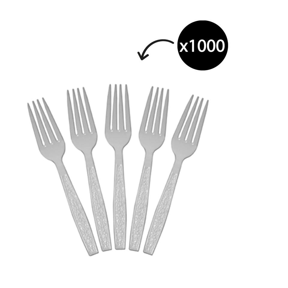Castaway Elegance Plastic Forks With Textured Handles 173mm White Carton 1000