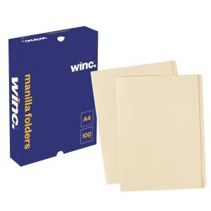 Winc Manilla Folder A4 Buff Box 100