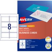 Avery Quick & Clean Business Cards 250gsm 85 x 54mm White Matt Finish Double Sided 25 Sheets